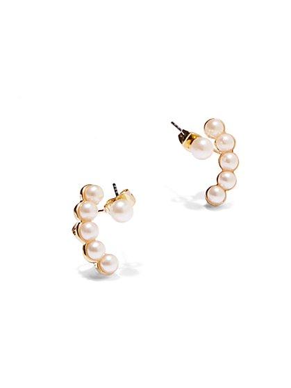 Faux-Pearl Cuff Earrings  - New York & Company