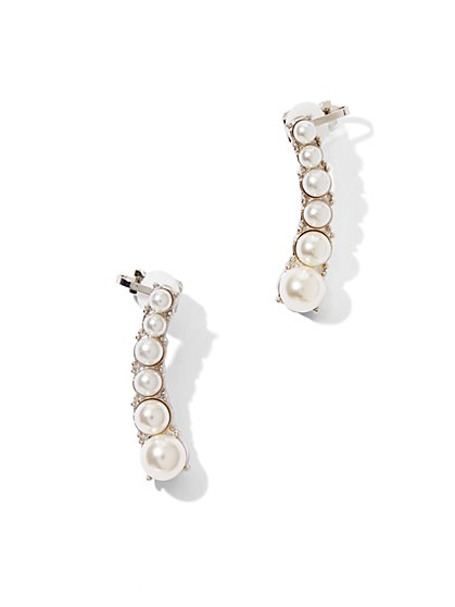 Faux Pearl Cuff Earrings  - New York & Company