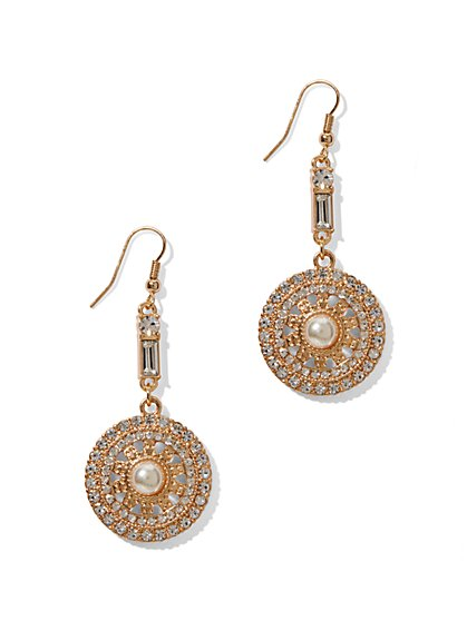 Faux Pearl Disc Drop Earrings  - New York & Company