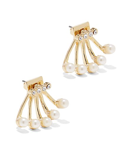 Faux-Pearl Fan Post Earring - New York & Company