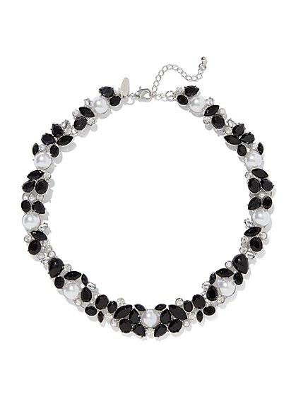 Faux-Pearl & Faux-Stone Collar Necklace  - New York & Company