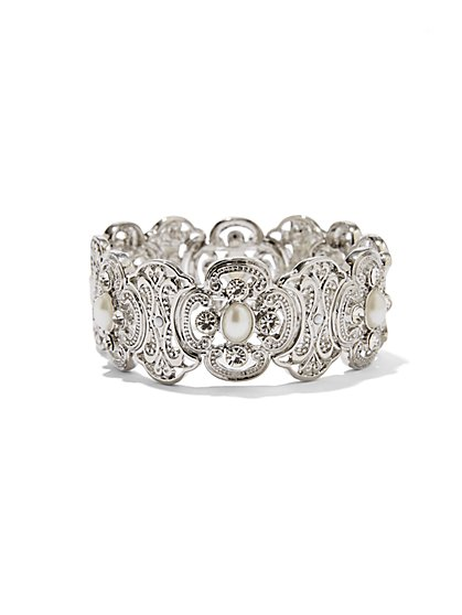 Faux-Pearl Filigree Stretch Bracelet  - New York & Company