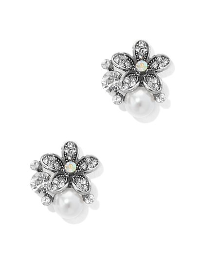 Faux Pearl & Floral Cluster Earring - New York & Company