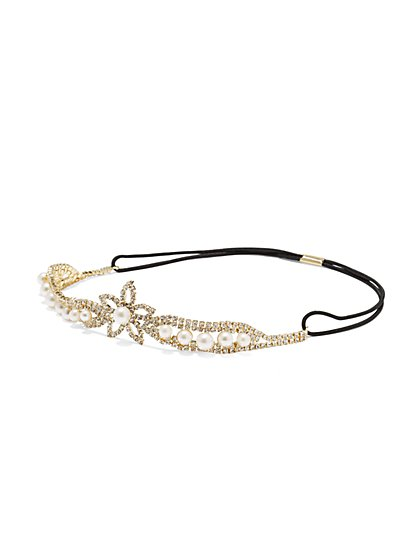 Faux-Pearl Floral Headband  - New York & Company