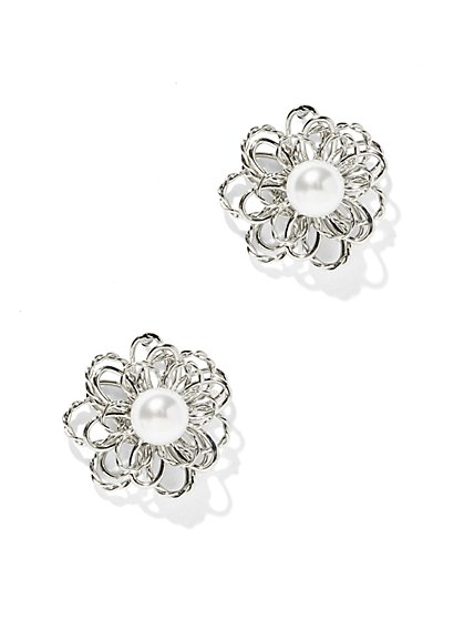 Faux-Pearl Floral Post Earring  - New York & Company