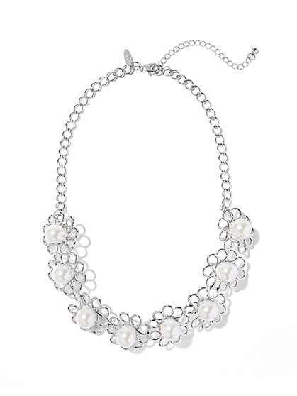 Faux-Pearl Flower Bib Necklace - New York & Company