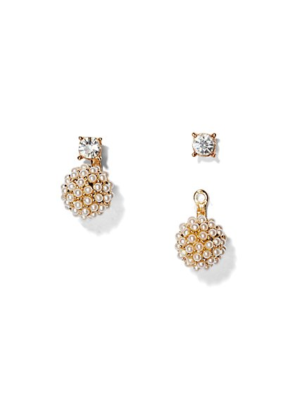 Faux-Pearl Front/Back Earring  - New York & Company