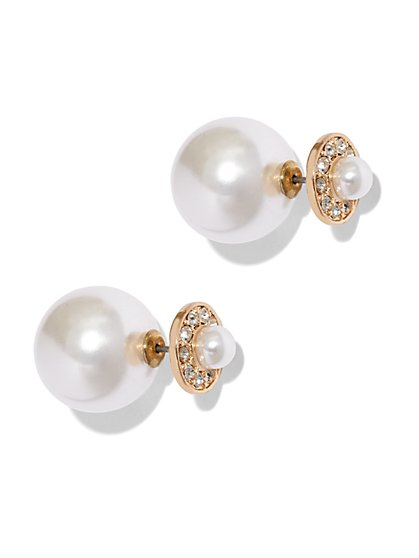 Faux-Pearl Front-Back Earring  - New York & Company