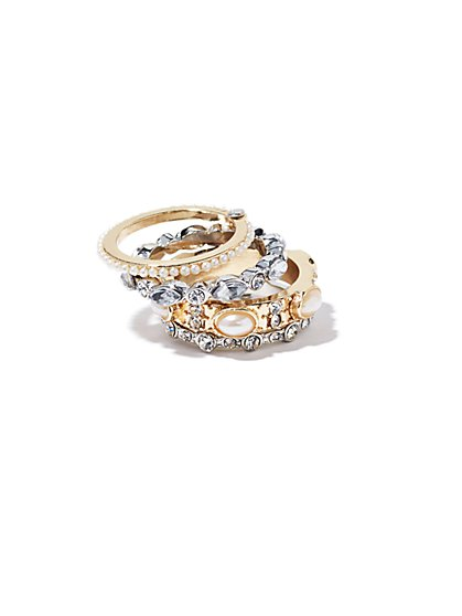 Faux Pearl & Glass Accent Stacked Ring  - New York & Company