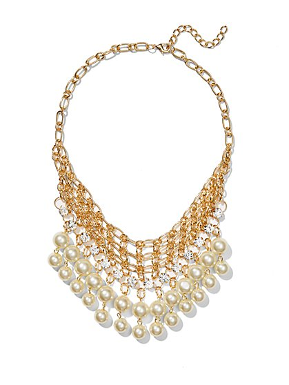 Faux Pearl Golden Net Necklace  - New York & Company