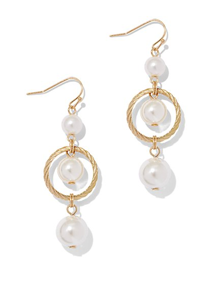 Faux-Pearl Goldtone Drop Earring  - New York & Company