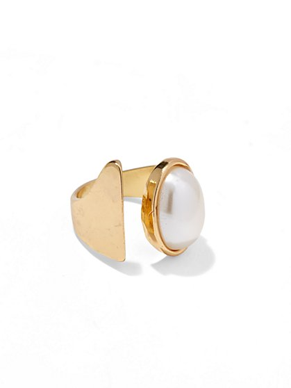 Faux-Pearl Goldtone Ring  - New York & Company