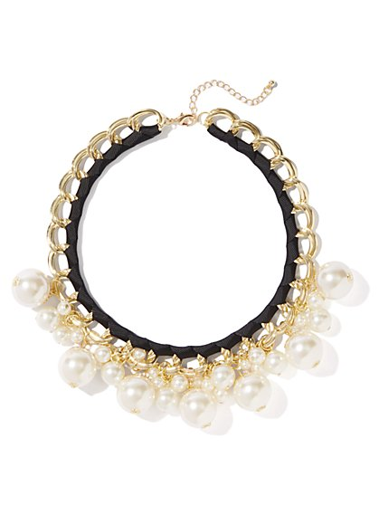 Faux-Pearl Jangle Necklace - New York & Company