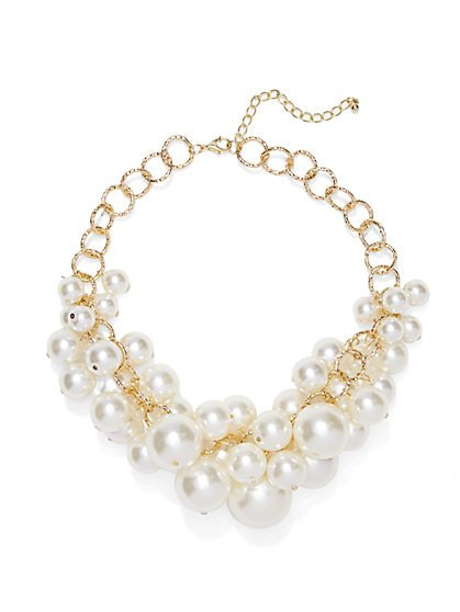 Faux-Pearl Jangle Necklace