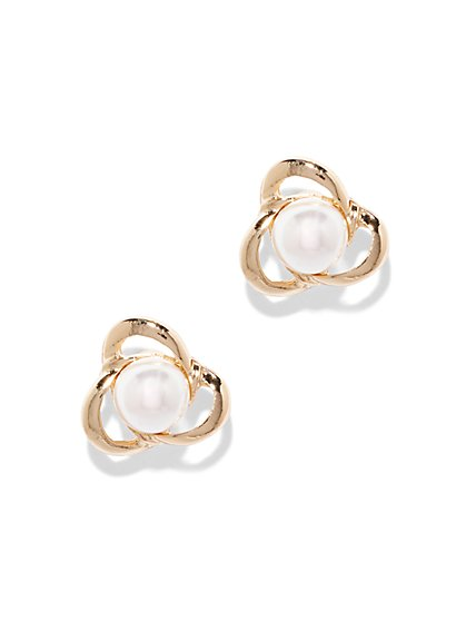 Faux-Pearl Knot Earring  - New York & Company