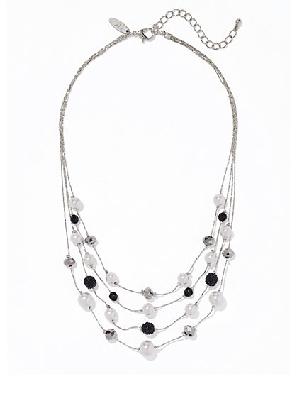Faux-Pearl Layered Necklace  - New York & Company