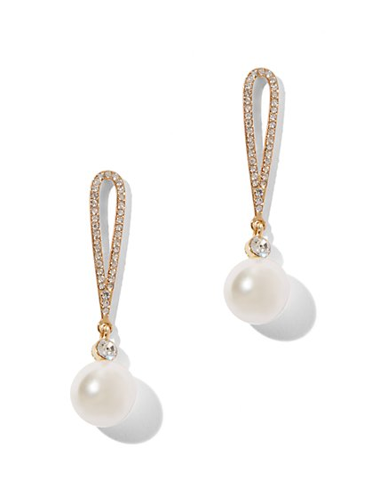 Faux-Pearl Loop Earrings  - New York & Company