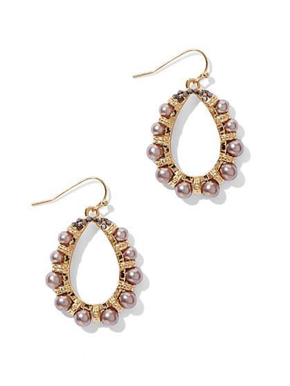Faux-Pearl Oval Drop Earrings  - New York & Company