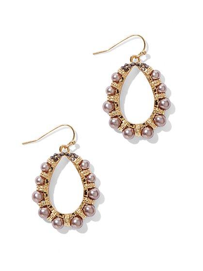 Faux-Pearl Oval Drop Earrings  - New York & Company
