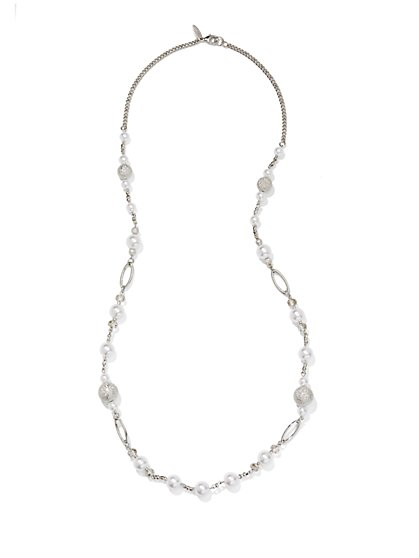Faux-Pearl Oval Link Necklace  - New York & Company
