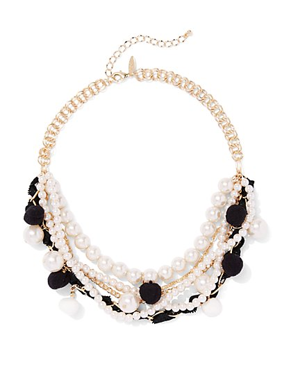 Faux-Pearl & Pom-Pom Layered Necklace  - New York & Company