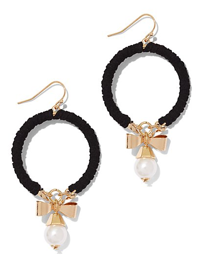 Faux-Pearl & Ribbon Hoop Drop Earring  - New York & Company