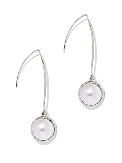 Faux-Pearl Silvertone Drop Earring  - New York & Company