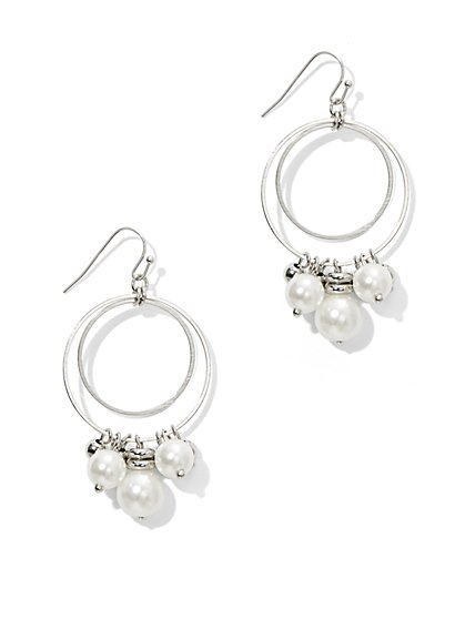 Faux-Pearl Sphere Double Hoop Earring - New York & Company