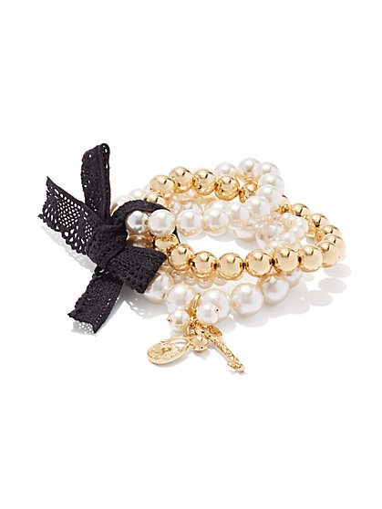 Faux-Pearl Stretch Bracelet Set  - New York & Company