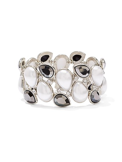 Faux-Pearl Stretch Cuff Bracelet  - New York & Company