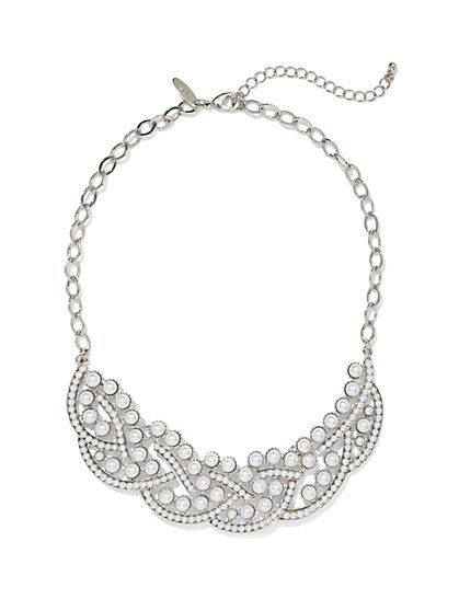Faux-Pearl Swirled Bib Necklace  - New York & Company