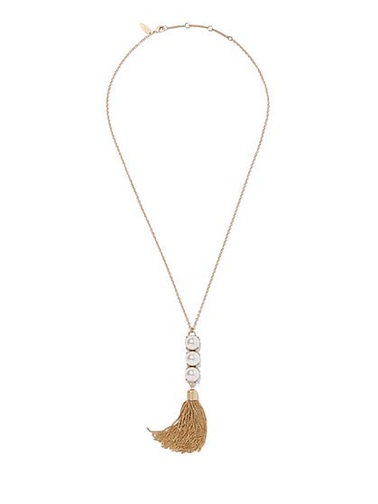 Faux-Pearl & Tassel Pendant Necklace  - New York & Company