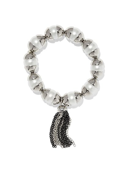 Faux Pearl & Tassel Stretch Bracelet  - New York & Company