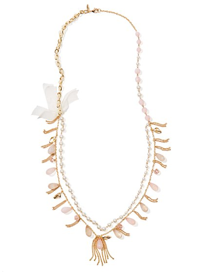 Faux-Pearl & Tassels Double-Strand Necklace