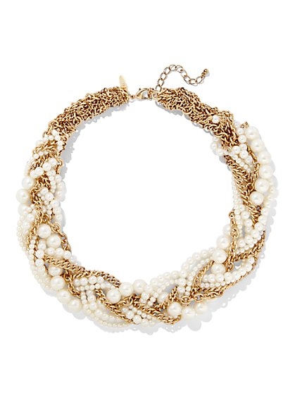 Faux-Pearl Torsade Necklace  - New York & Company