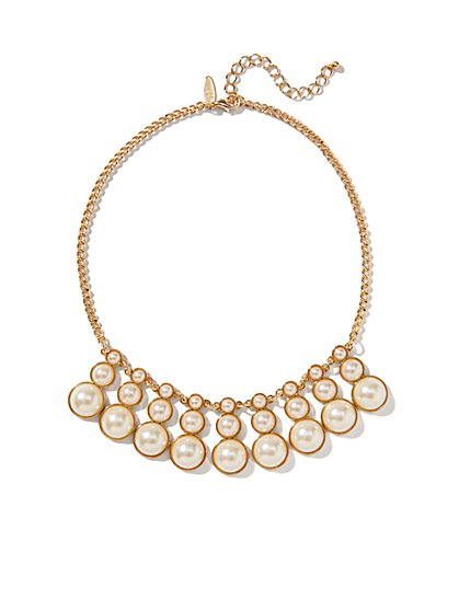 Faux Pearl Triple-Drop Necklace  - New York & Company