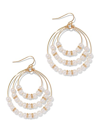 Faux-Pearl Triple-Hoop Earring  - New York & Company