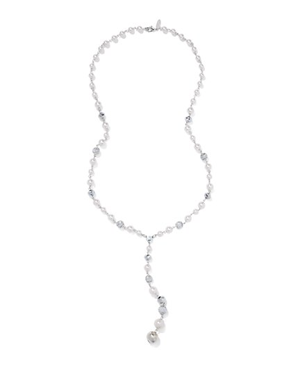 Faux-Pearl Y Necklace  - New York & Company