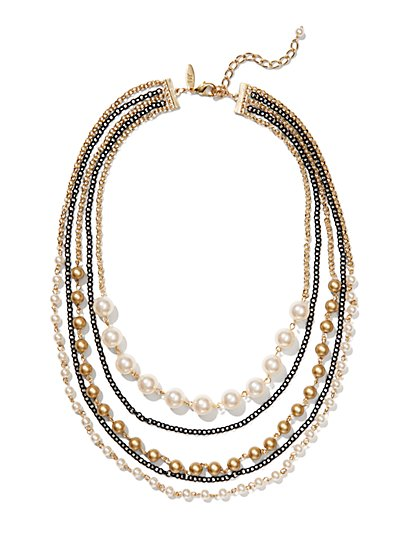 Faux-Pearl and Chain 5-Row Necklace  - New York & Company