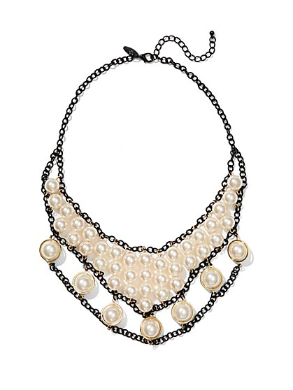 Faux Pearl and Chain Bib Necklace  - New York & Company