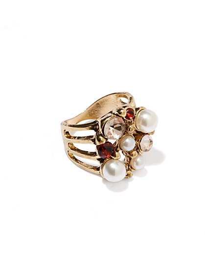 Faux-Pearl and Stone Accent Ring  - New York & Company