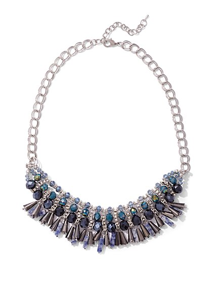 Faux-Sapphire Bib Necklace  - New York & Company