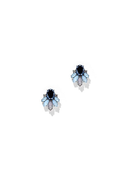 Faux-Sapphire Cluster Post Earring  - New York & Company