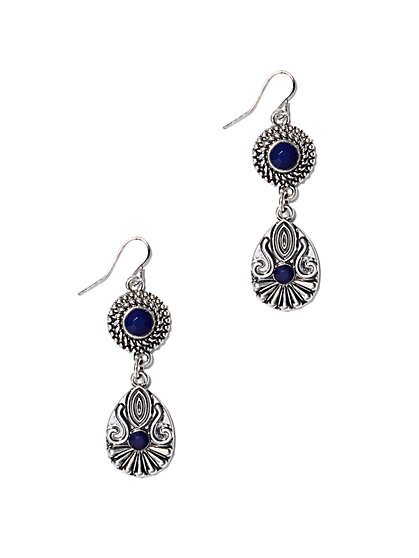Faux-Sapphire Double-Drop Earring  - New York & Company