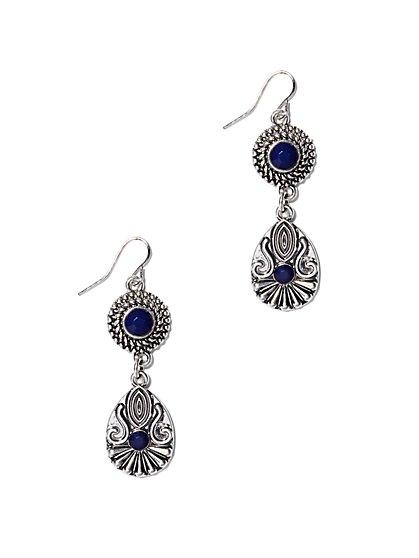 Faux-Sapphire Double-Drop Earring  - New York & Company