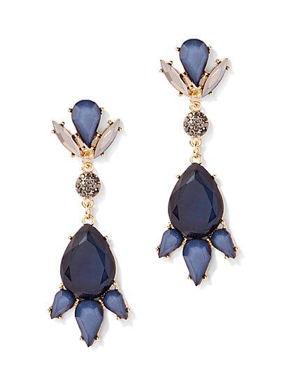 Faux-Sapphire Drop Earring  - New York & Company