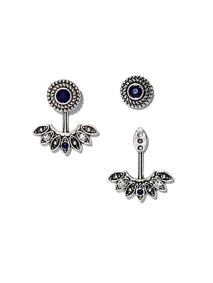 Faux-Sapphire Front/Back Earring  - New York & Company