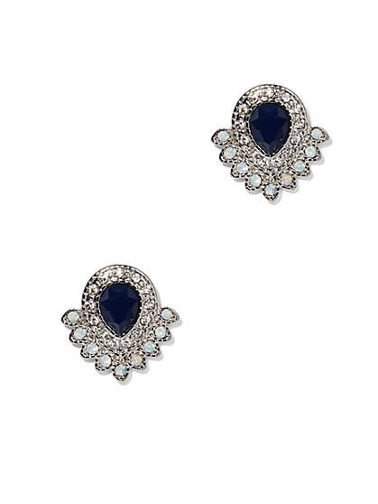 Faux-Sapphire & Moonstone Post Earrings  - New York & Company