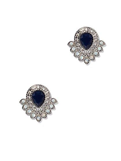 Faux-Sapphire & Moonstone Post Earrings  - New York & Company