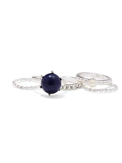 Faux-Sapphire & Pearl Ring Set  - New York & Company
